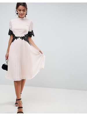 Asos ASOS Lace Waist and Cuff Pleated Midi Dress