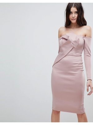 ASOS Long Sleeve Bandeau Origami Front Midi Dress