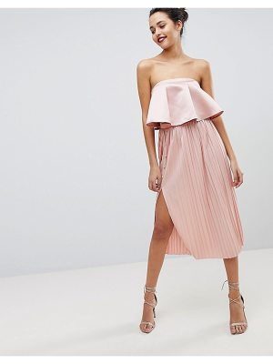 ASOS Midi Pleated Skirt With Side Button Detail