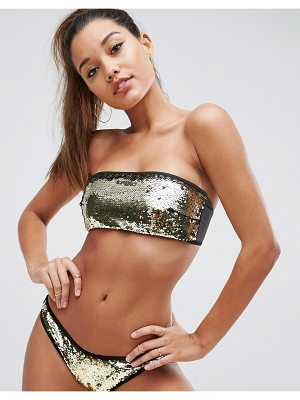 ASOS DESIGN mix and match two tone sequin embellished bandeau bikini top