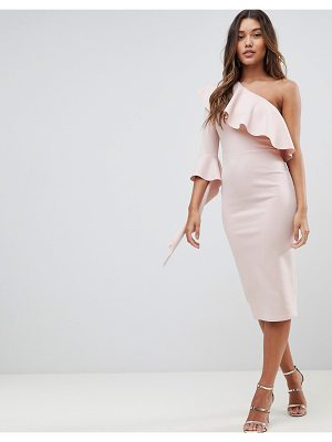 ASOS One Shoulder Ruffle Midi Dress With Extreme Sleeve