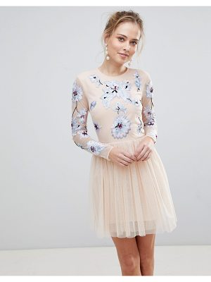 Asos Pastel Embroidered Tulle Mini Dress
