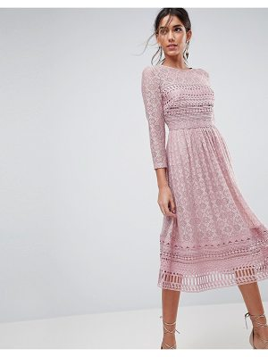 Asos ASOS PREMIUM Lace Midi Skater Dress