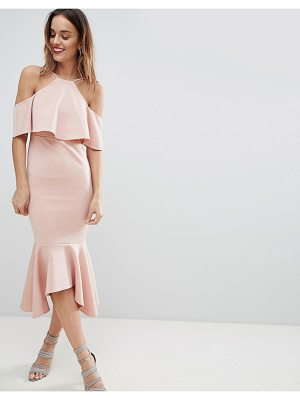 ASOS DESIGN ruffle cold shoulder asymmetric pephem midi dress