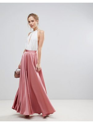 ASOS DESIGN asos satin maxi skirt with center front split