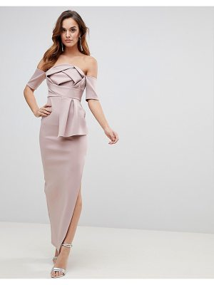 Asos Scuba Bardot Folded Bow Front Maxi Dress