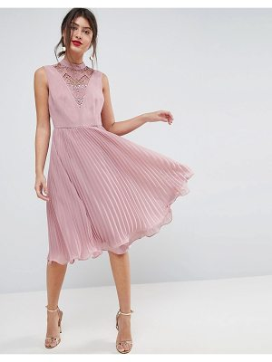 Asos Sleeveless Lace Insert Pleated Midi Dress
