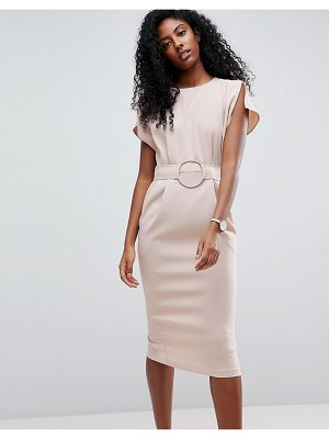 ASOS Split Cap Sleeve Midi Dress With Circle Belt