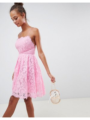 ASOS DESIGN square neck mini lace prom dress