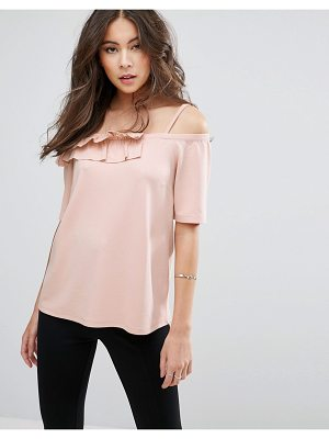 Asos Top in Ponte With Ruffle Off Shoulder
