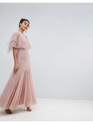 ASOS DESIGN asos tulle godet flutter sleeve maxi dress