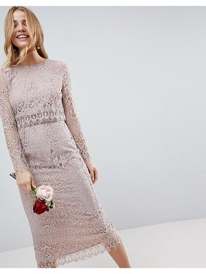 ASOS Design Bridesmaid Lace Long Sleeve Midi Pencil Dress