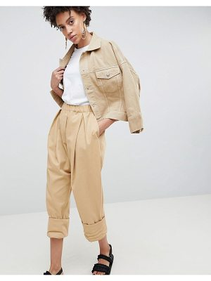 Asos White drop crotch twill pants