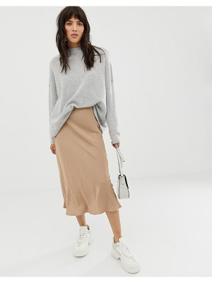 Asos White bias cut midi skirt-brown