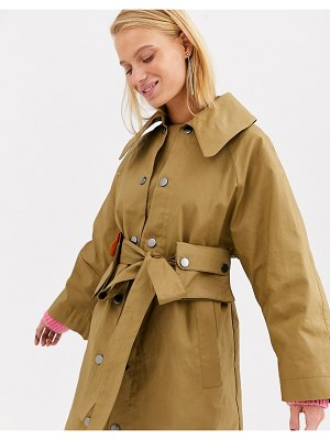 Asos White bonded trench coat-cream