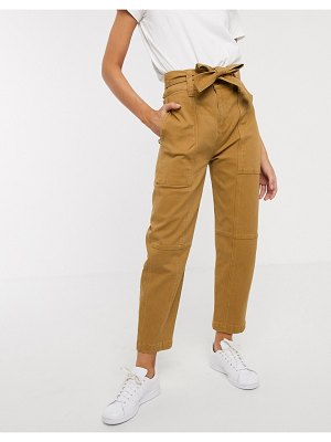 Asos White double button tie waist carrot leg pants-brown