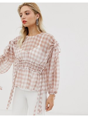 Asos White gingham ruched waist top-pink