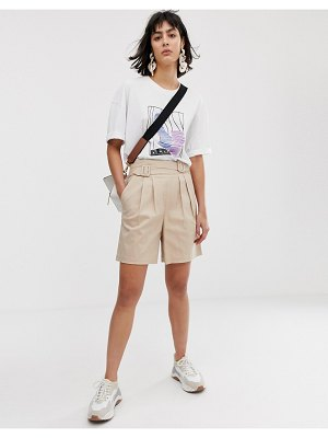 Asos White high waist belted shorts