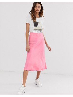 Asos White pink satin bias cut skirt