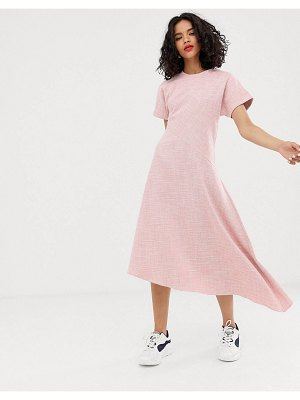 Asos White pink textured short sleeved midi dress