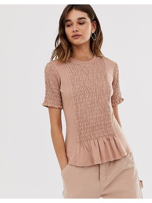 Asos White plain ruched front tee
