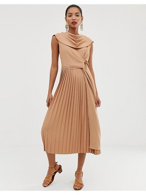 Asos White pleated midi dress