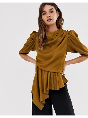 Asos White ruched sleeve high neck top-brown