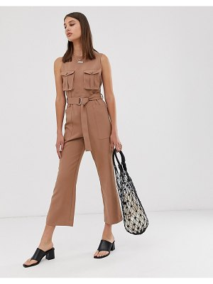 Asos White sleeveless d-ring jumpsuit-brown