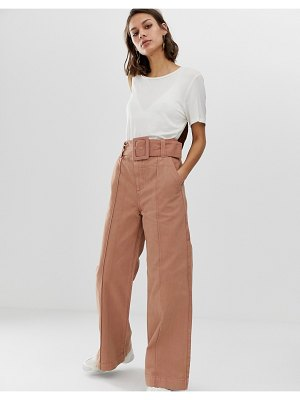 Asos White wide leg jeans with belt-pink