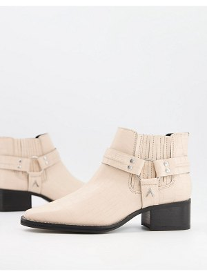 ASRA mariana boots with harness detail in croc embossed bone leather-cream