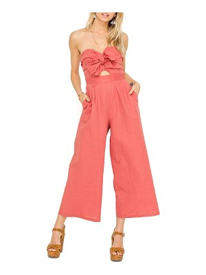 ASTR the Label mara strapless cotton & linen jumpsuit