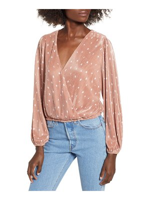 ASTR the Label pleated long sleeve surplice top