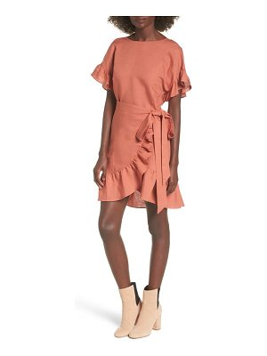 ASTR THE LABEL Ruffle Linen Blend Wrap Dress