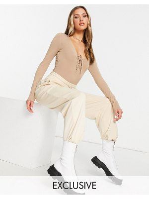 AsYou knitted tie front bodysuit in beige-neutral