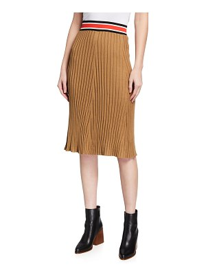 ATM Anthony Thomas Melillo Silk-Cotton Ribbed Pull-On Skirt