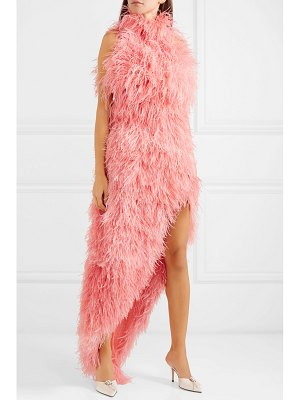Attico asymmetric feathered tulle dress