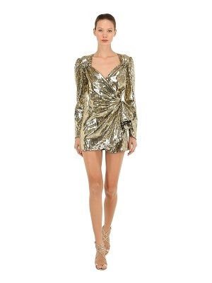 Attico Gold sequined mini wrap dress