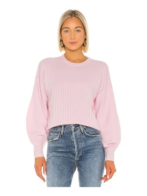 Autumn Cashmere shaped rib bishop sleeve crew sweater