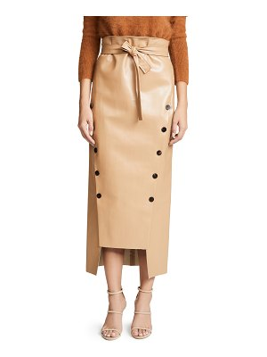 A.W.A.K.E. double button front tie waist skirt