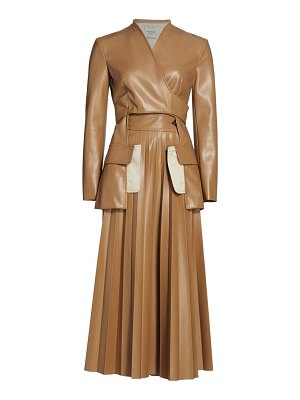 A.W.A.K.E. Mode faux leather maxi pleated coat