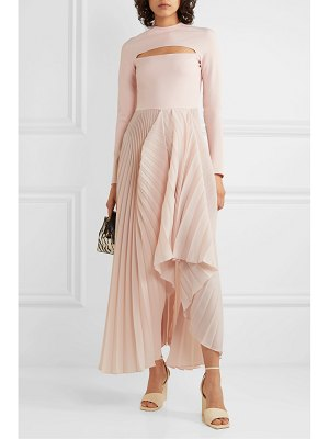 A.W.A.K.E. Mode sea shell cutout crepe and pleated chiffon maxi dress