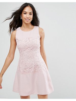 AX PARIS Ax Paris Pink Lace Waist Skater Dress