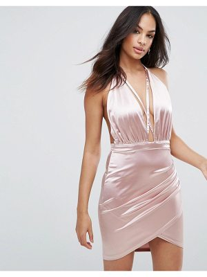 Ax Paris Ax Paris Pink Satin Halterneck Dress With Ruched Detail
