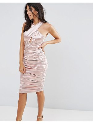 Ax Paris Ax Paris Slinky Pink Ruched Dress With A Cross Over Cut Out Front
