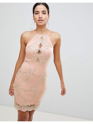 Ax Paris Bodycon Dress With Contrast Lace Detail