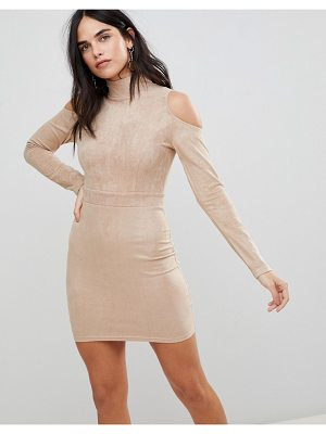 Ax Paris Cold Shoulder Long Sleeve Bodycon Dress