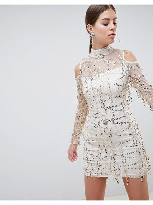 Ax Paris High Neck Long Sleeve Dress With All Over Embellishement