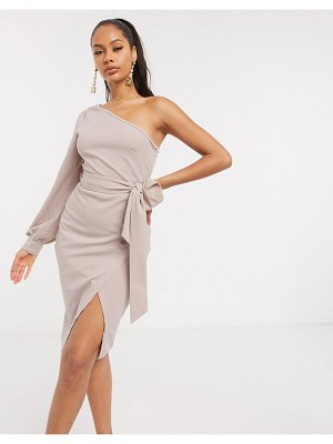 Ax Paris one sleeve mini dress in mink-beige