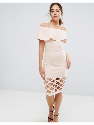 AX PARIS Pink Frill Bardot Bodycon With Cut Out Detail Dress