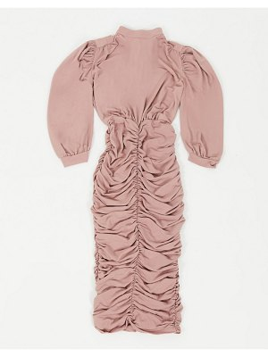 Ax Paris ruched midi dress in taupe-pink
